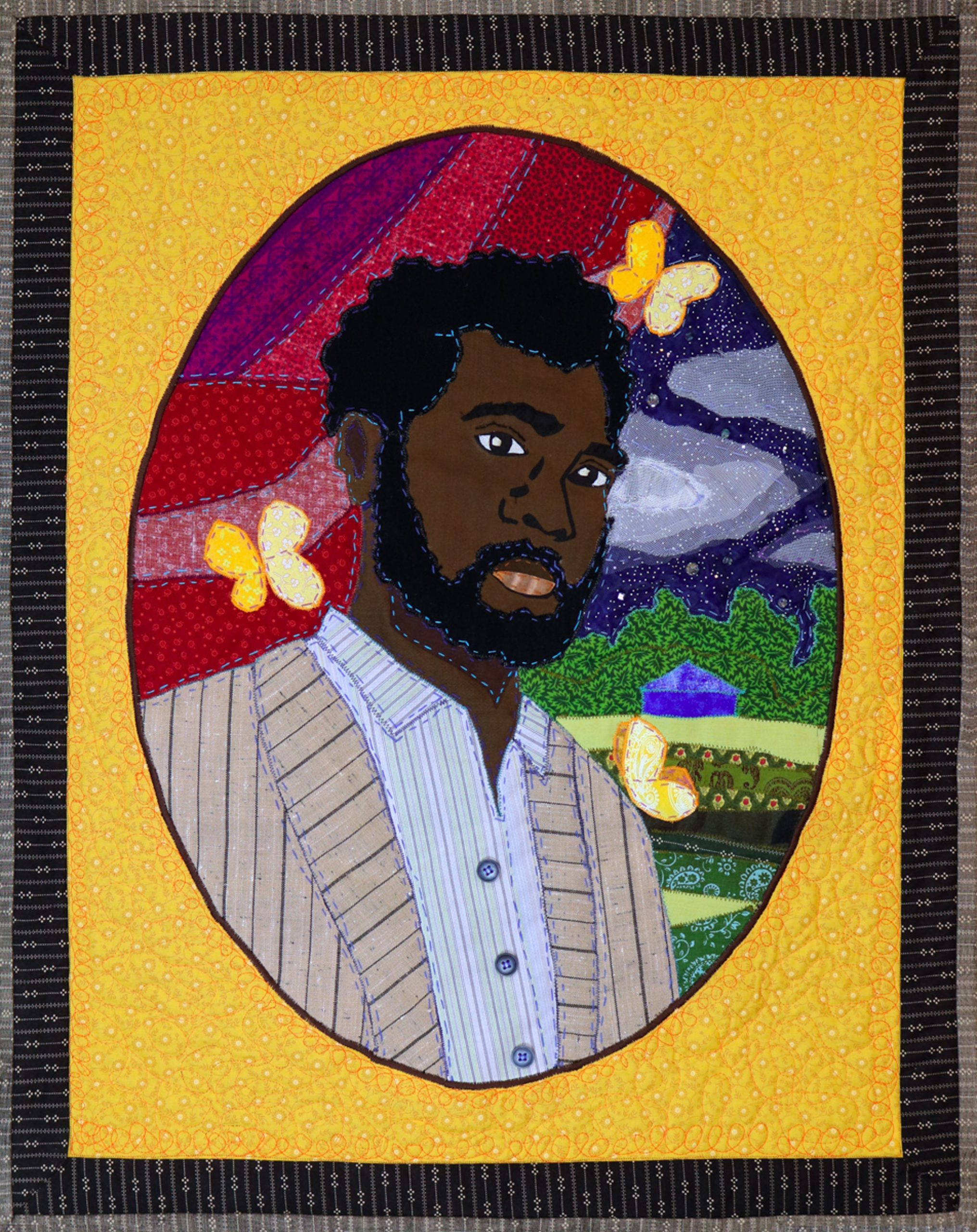 Stephen Towns, Let Not Man Put Asunder: Portrait of Nat Turner, 2018.   Natural and synthetic fabric, nylon tulle, polyester and cotton thread, metallic thread, crystal glass beads, resin buttons. 30 x 24 inches. Courtesy of the artist.