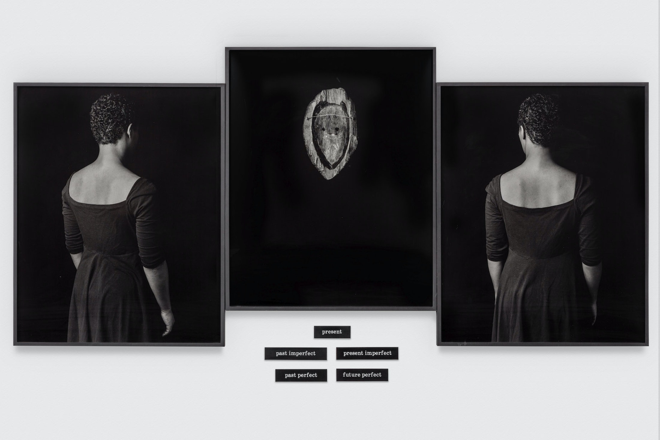 Lorna Simpson, Tense, 1991. 3 silver gelatin prints, 3 frames total (1 print in each) 5 engraved plastic plaques. 49 ¼ x 128 ½ x 1 7/8 in. © Lorna Simpson. Courtesy of the artist and Hauser & Wirth. The Eileen Harris Norton Collection. Photo: Charles White.