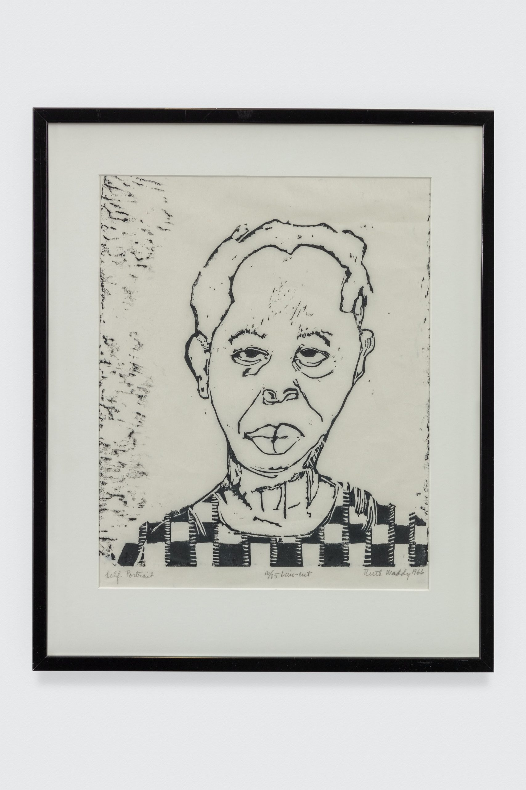 Ruth Waddy, Self Portrait, 1966. Lino-cut print. 23 x 19 3/4 in. © Ruth Waddy. The Eileen Harris Norton Collection. Photo: Charles White.