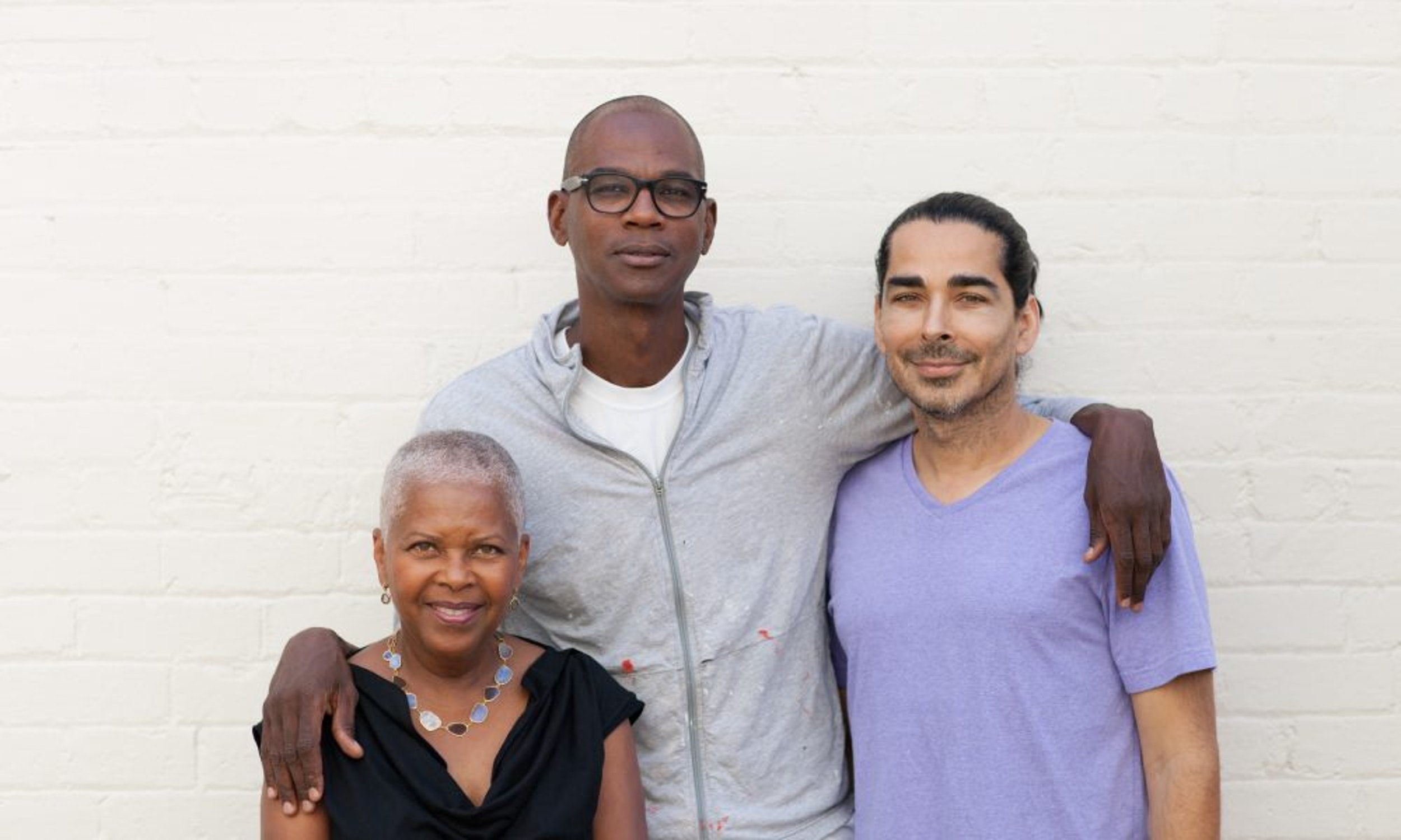 Left to Right: A+P co-founders Eileen Harris Norton, Mark Bradford and Allan DiCastro at Art + Practice, Los Angeles. Photo by Sean Shim-Boyle.