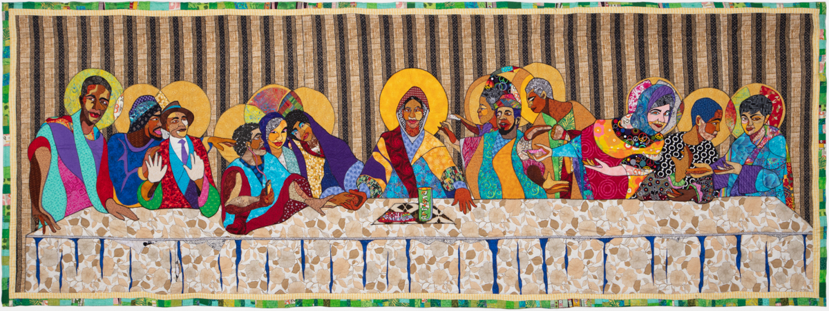 Ramsess, The Gathering, 2012. Fabric. 58 x 166 inches. Photo by Damian Turner. Courtesy of the artist.