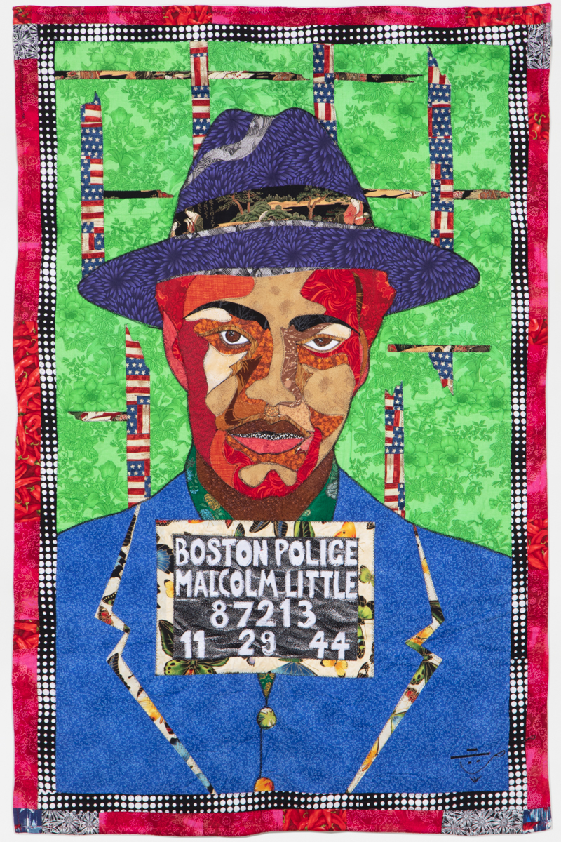 Ramsess, Malcolm X, 2008. Fabric. 37 x 56 inches. Photo by Damian Turner. Courtesy of the artist.
