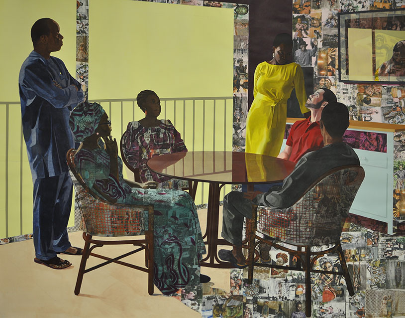 Njideka Akunyili Crosby, I Still Face You, 2015. Acrylic, charcoal, color pencils, collage, and transfers on paper. 84 x 105 inches. Courtesy of the artist and Victoria Miro, London.