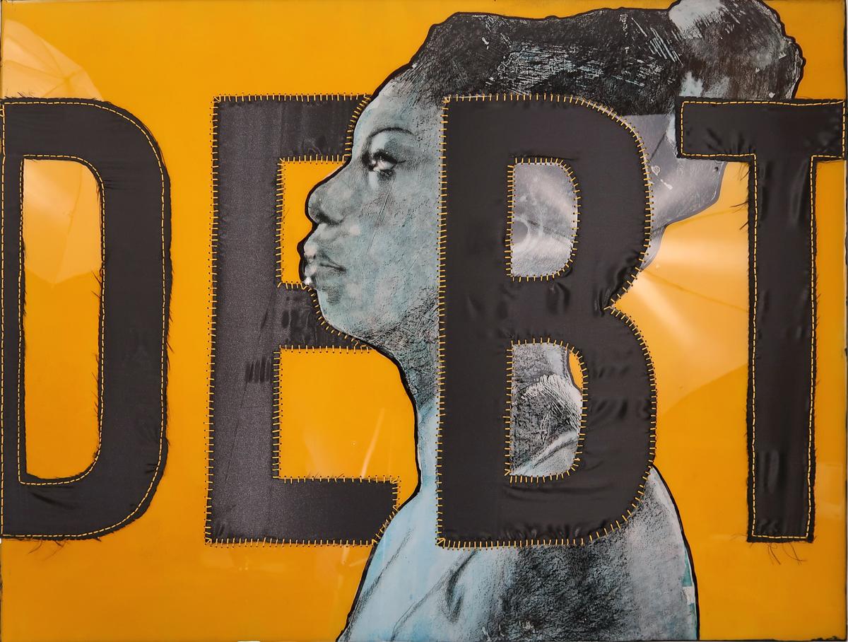 April Bey, DEBT (Nina Simone, No Fear), 2018. Mixed media drawing, epoxy resin, hand sewn black satin. 30 x 40 inches.