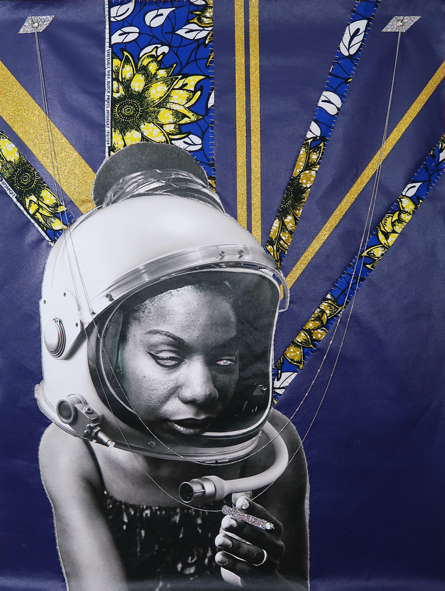 April Bey, We Arrived, Then Smoked A Cigarette Afterwards (No Fear), 2018. Chinese (Ghana) wax fabric, hand sewing with Made in China thread and needles, glitter, jewelry chain. 48 x 36 inches.