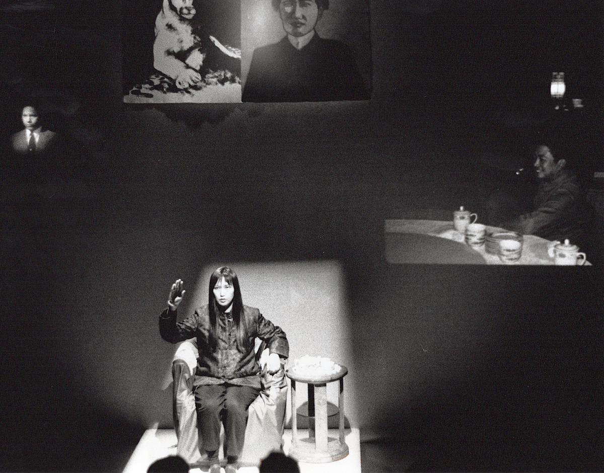 May Sun, The Great Wall of How Red is My China? performed in 1988 at New Langton Arts. San Francisco, California. Photo by Martin Cox.