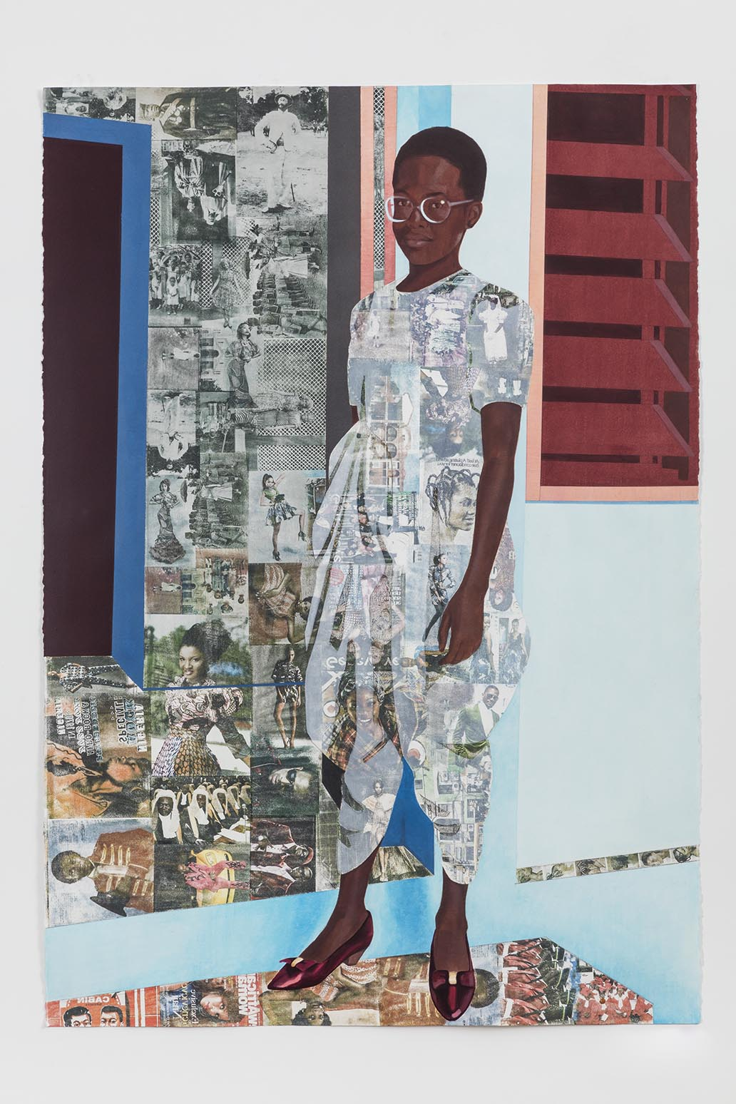 Njideka Akunyili Crosby, The Beautyful Ones no.1, 2015. Acrylic, pastel, colored pencils, and Xerox transfers on paper. 60 x 42 inches. Courtesy of the artist and Victoria Miro, London. Photo by Jason Wyche.