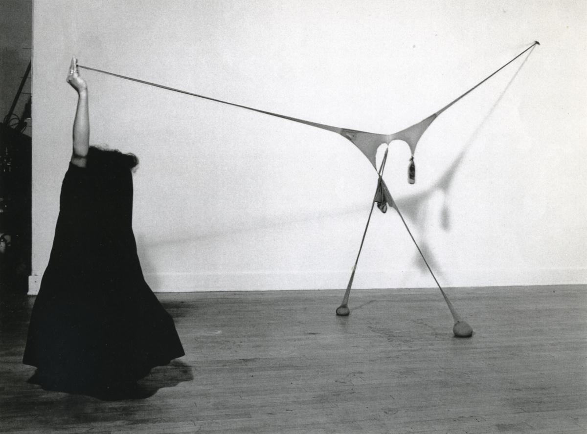 Senga Nengudi, Studio performance with R.S.V.P., 1976. Black and white photograph. Framed: 30 1/2 × 40 1/2 × 1 3/4 inches. Courtesy of the artist; Thomas Erben Gallery, New York; and Lévy Gorvy, New York, London.