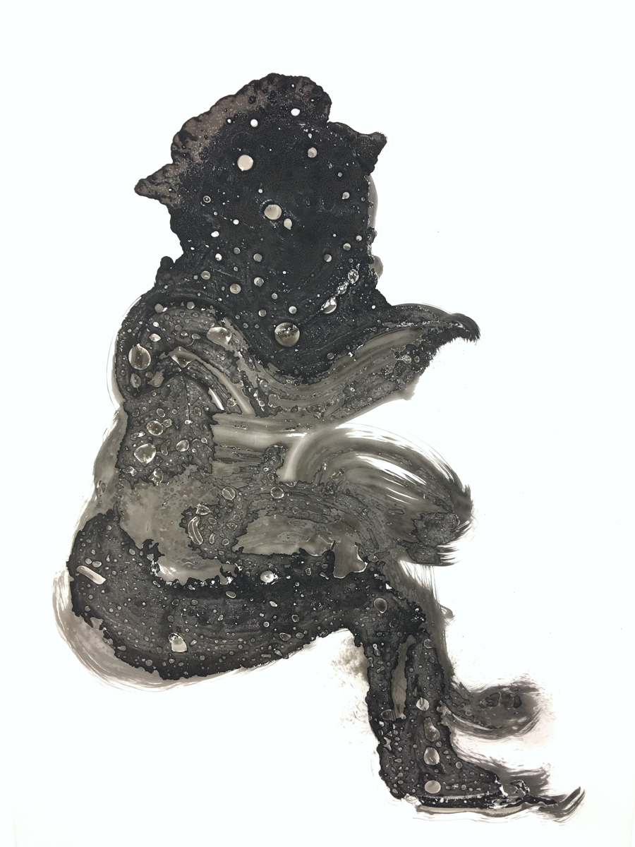 Kenyatta A.C. Hinkle, The Evanesced: Abiku, 2018. India ink on Dura-Lar. 24 x 40 inches. Image courtesy of the artist.