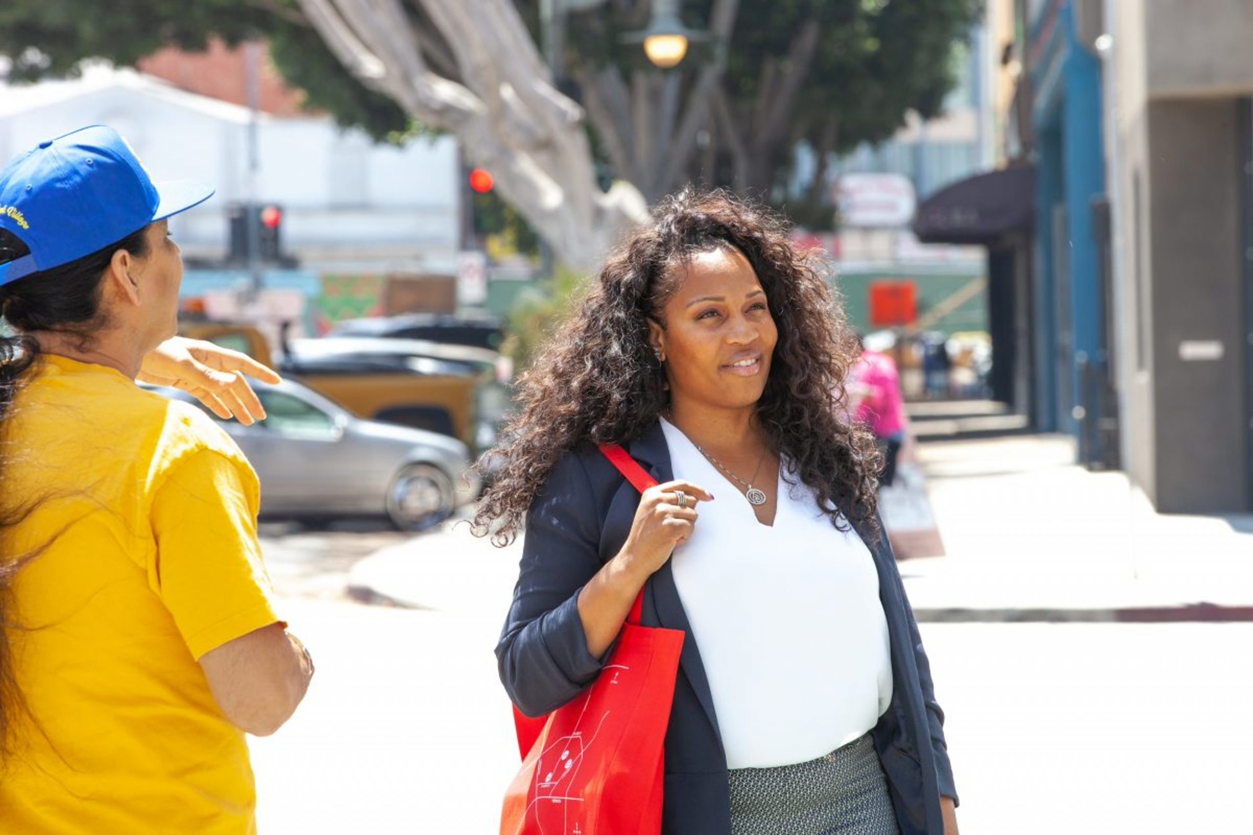 First Place for Youth's Executive Director for Southern California, Suzanne Brown, tours the Art + Practice campus in Leimert Park with Allan DiCastro, Los Angeles. 27 June 2019. Photo by Josiah Green.