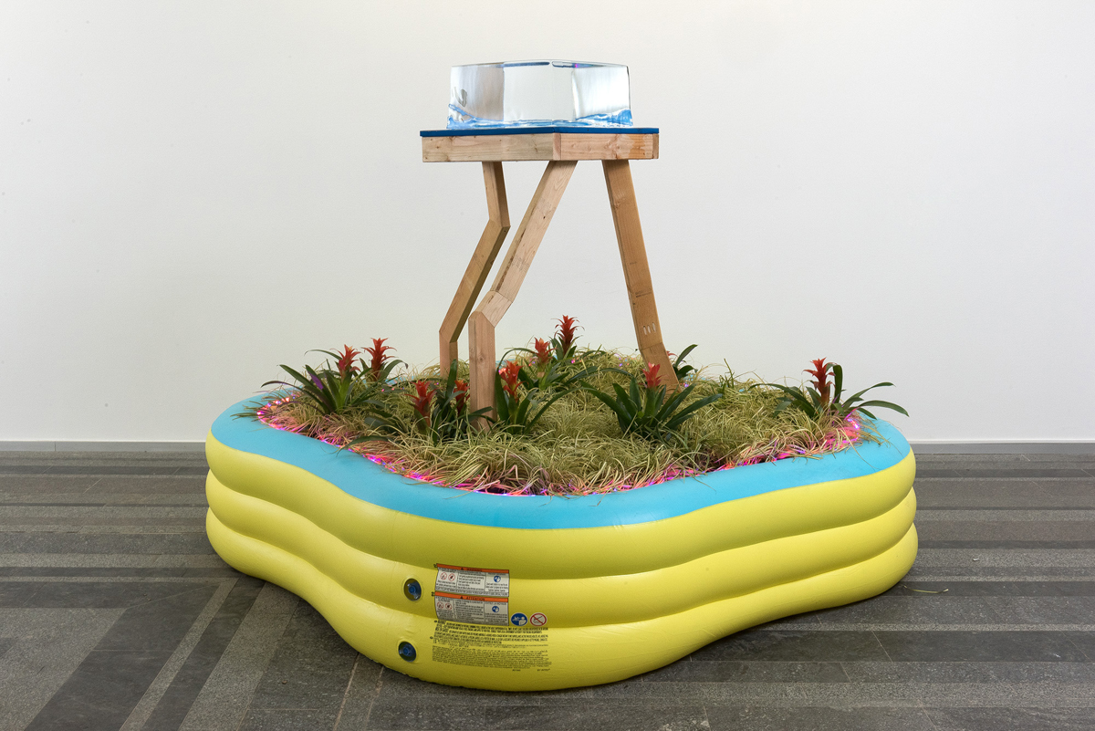 EJ Hill, An Arrangement of Perpetuities, 2017. Pinchuk Art Centre, Kyiv, Ukraine. Wood, ice, soil, plants, inflatable vinyl pools, marine canvas, and LEDs. Dimensions variable. Photo by Sergey Illin.