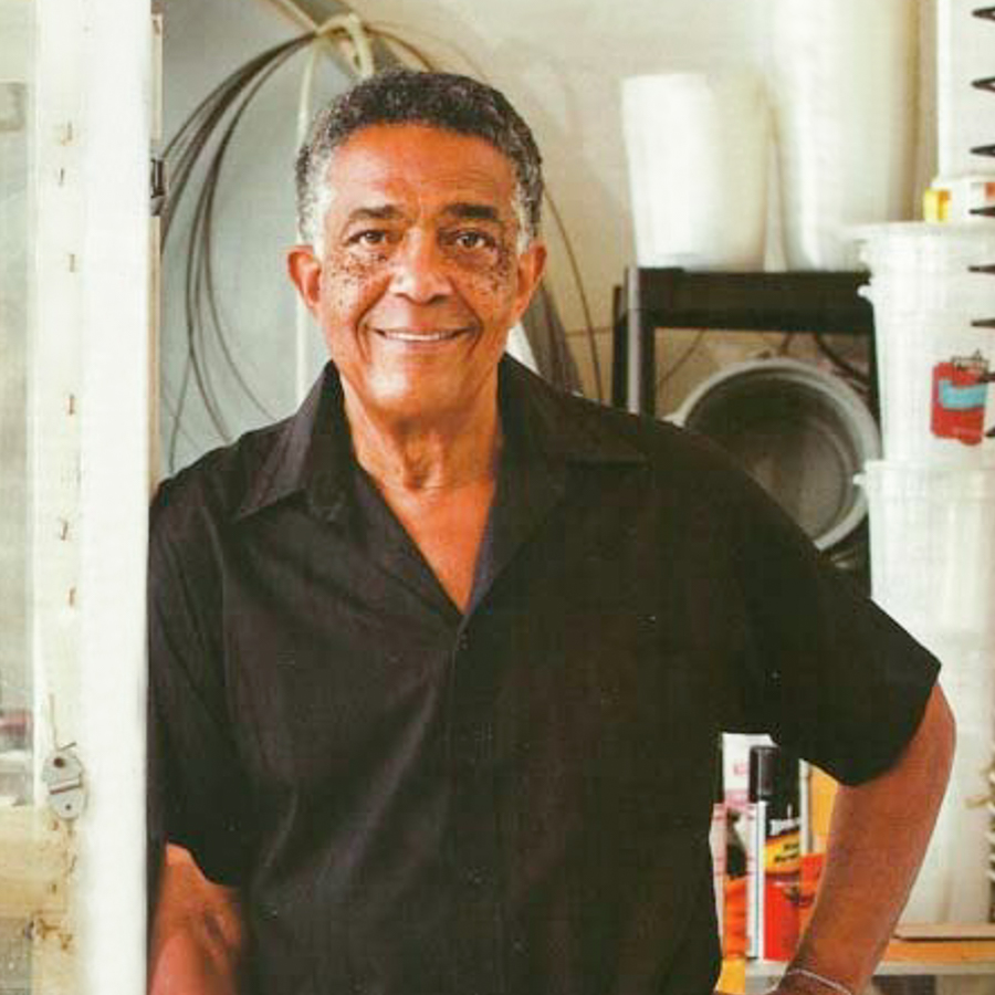 Fred Eversley in his Venice studio, 2011. Photo courtesy of the artist and Venice Magazine.