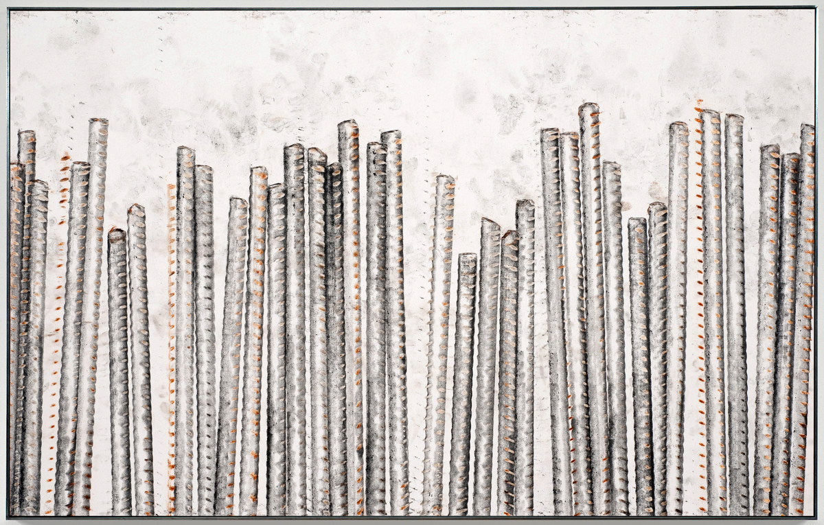 Ruben Ochoa, Steel Life, Roman Numeral Five, 2010. Intaglio with rust and graphite on paper. 20 x 31 x 2 inches. Courtesy of the artist and Susanne Vielmetter Los Angeles Projects. Photo Credit by Robert Wedemeyer.