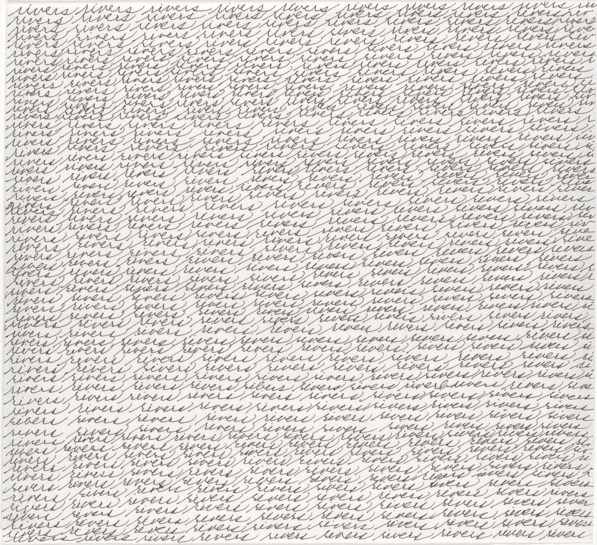 Maren Hassinger, Rivers, 2007. Tinta sobre papel. Enmarcado: 14 ¼ x 13 ¼ x 1 ¼ pulgadas. Cortesía del Artista.