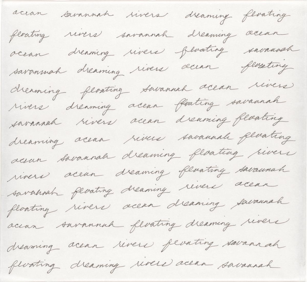 Maren Hassinger, Ocean Savannah Rivers Dreaming Floating, 2007. Tinta sobre papel. Enmarcado: 14 ¼ x 13 ¼ x 1 ¼ pulgadas.