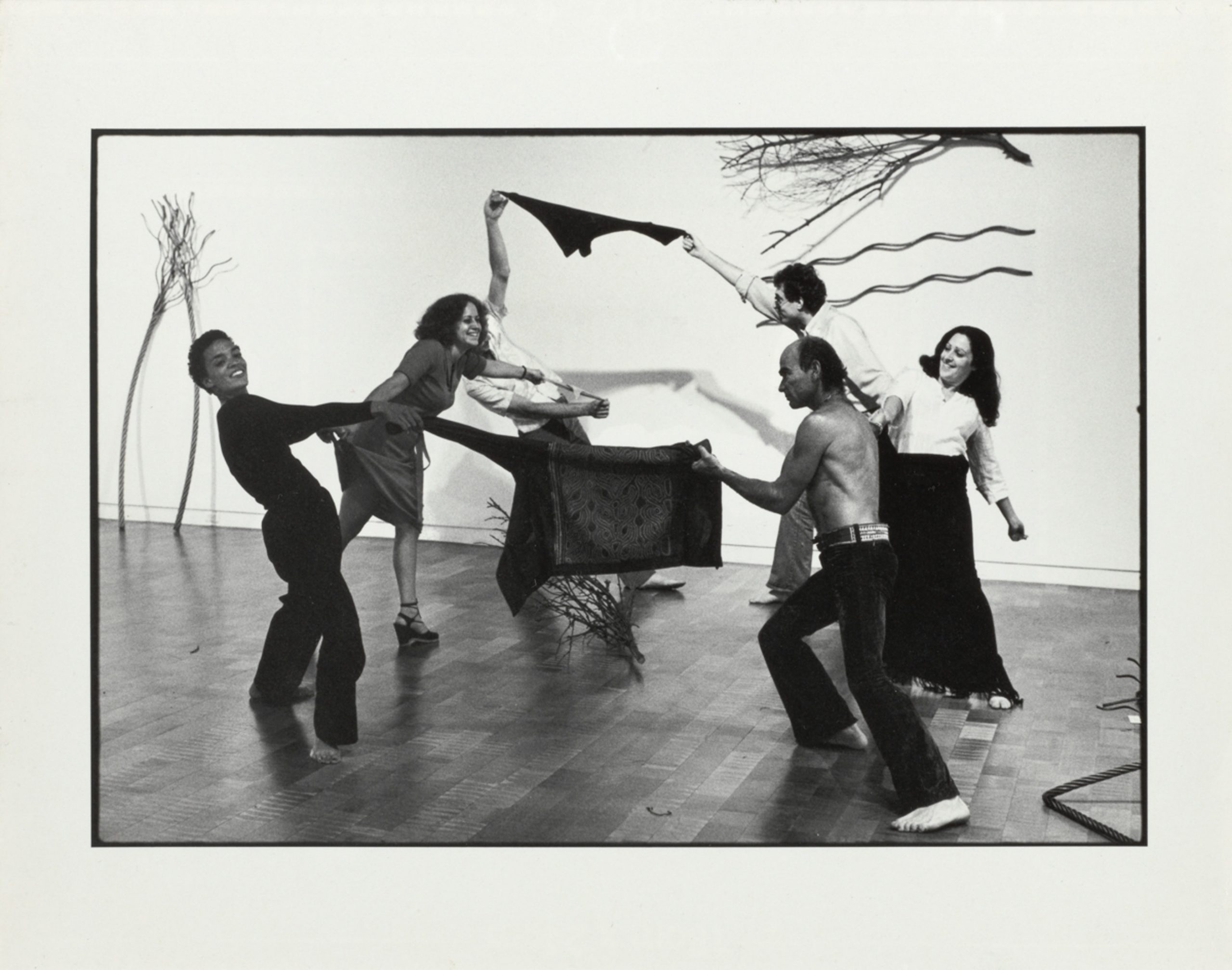 Maren Hassinger, High Noon, 1976. Four black and white photographs. Three framed vertical images: 15 ¼ x 12 ¼ x 1 ¼ inches and one framed horizontal image: 12 ¼ x 15 ¼ x 1 ¼ inches. Courtesy of the artist. Photo by Adam Avila.