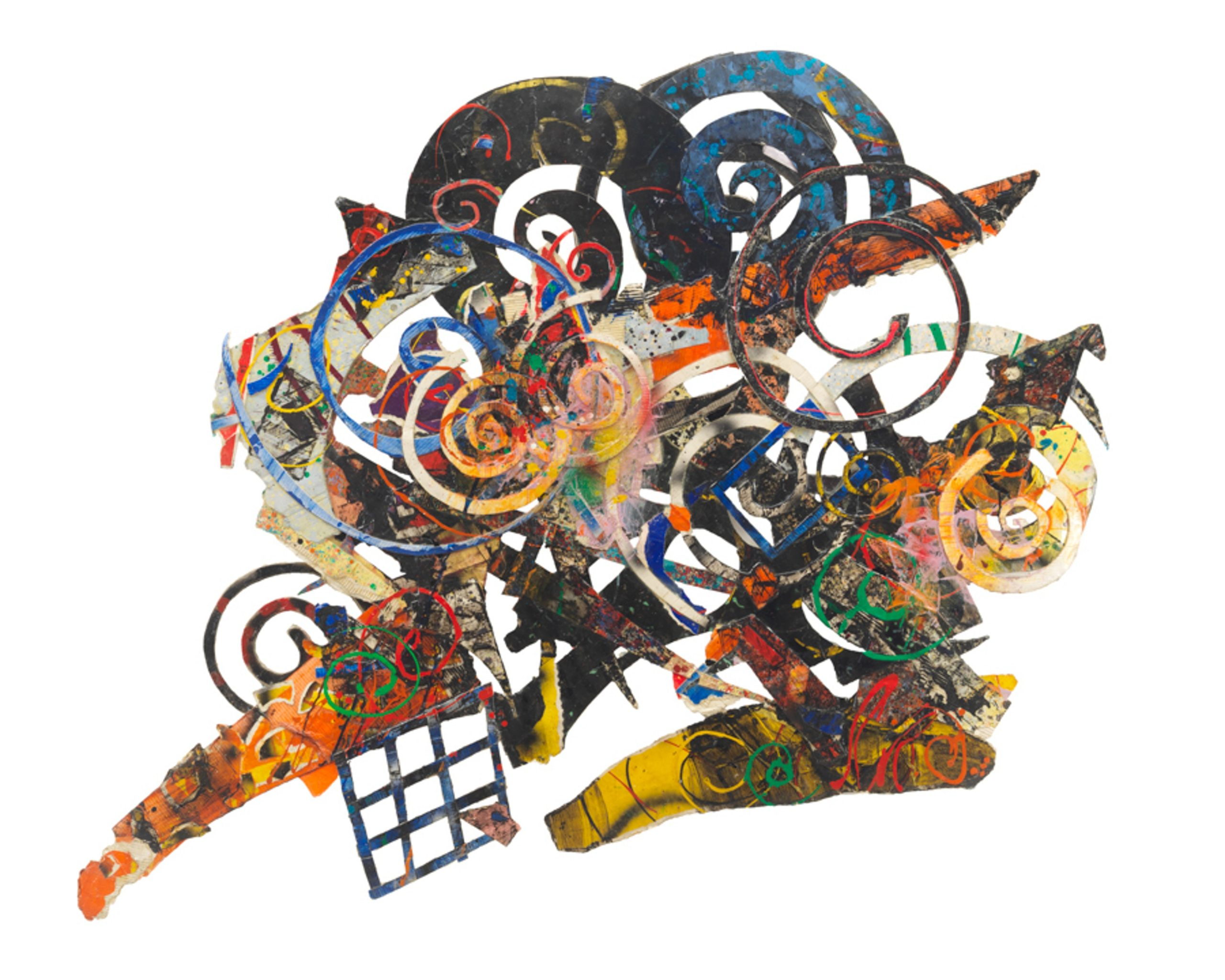 "Al Loving, Humbird, 1989, mixed media on board, 72"" x 100"". Courtesy the Estate of Al Loving and Garth Greenan Gallery, New York."