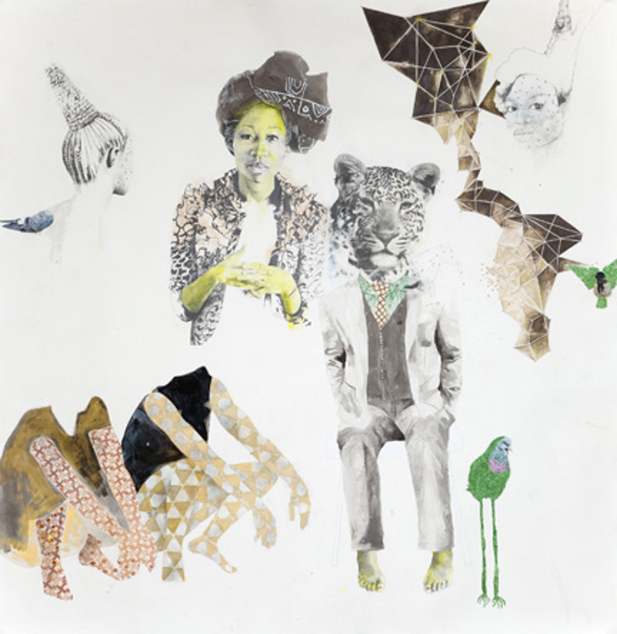 ruby onyinyechi amanze, kindred, 2014. Graphite, ink, pigment, enamel, photo transfers, and glitter on paper, 80 x 78 in. Photo courtesy the artist and Tiwani Contemporary, London.