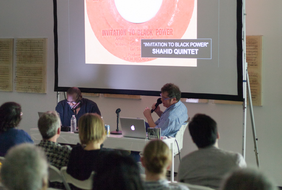 In Conversation: Fred Moten and Pat Thomas at Art + Practice. Los Angeles. April 16, 2015. Photo by Elon Schoenholz.
