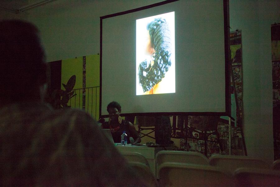 Kenyatta A.C. Hinkle: Navigating Ain'tness: Exploring the Kentifrica Archive at Art + Practice. Los Angeles. October 8, 2015. Photo by Elon Schoenholz.
